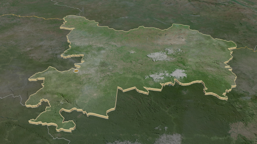 Haut-Uele, province with its capital, zoomed and extruded on the satellite map of Congo Kinshasa in the conformal Stereographic projection | Shutterstock HD Video #1045352590