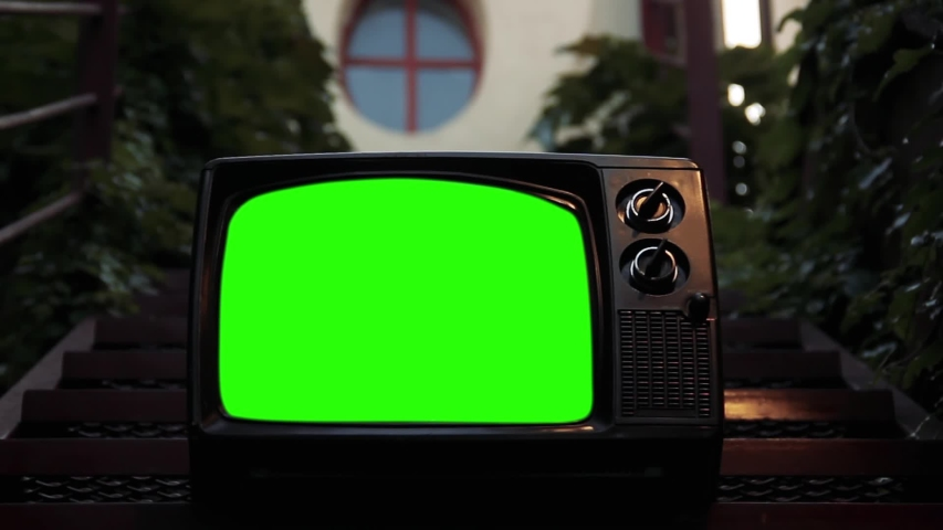 """Vintage Television Green Screen in a Outdoor Staircase. Zoom In. You can Replace Green Screen with the Footage or Picture you Want with """"Keying"""" effect in After Effects (check out tutorials on YTube). 