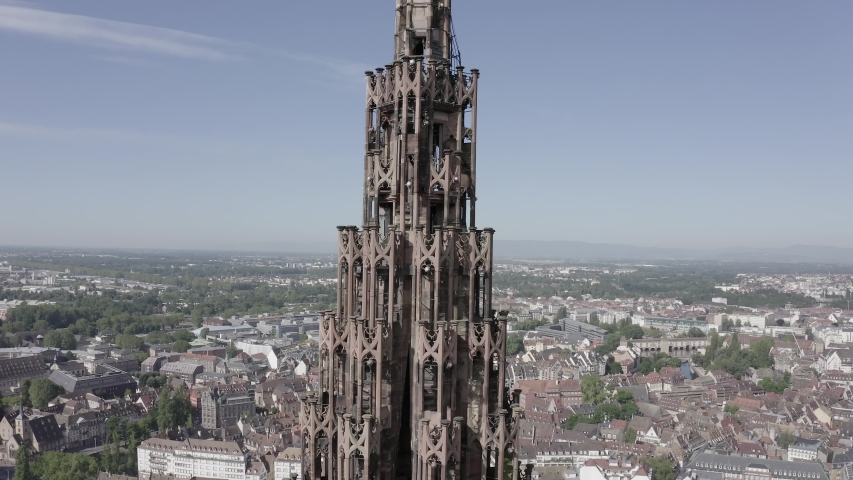 D-Log. Strasbourg, France. The historical part of the city, Strasbourg Cathedral, Aerial View | Shutterstock HD Video #1046734030