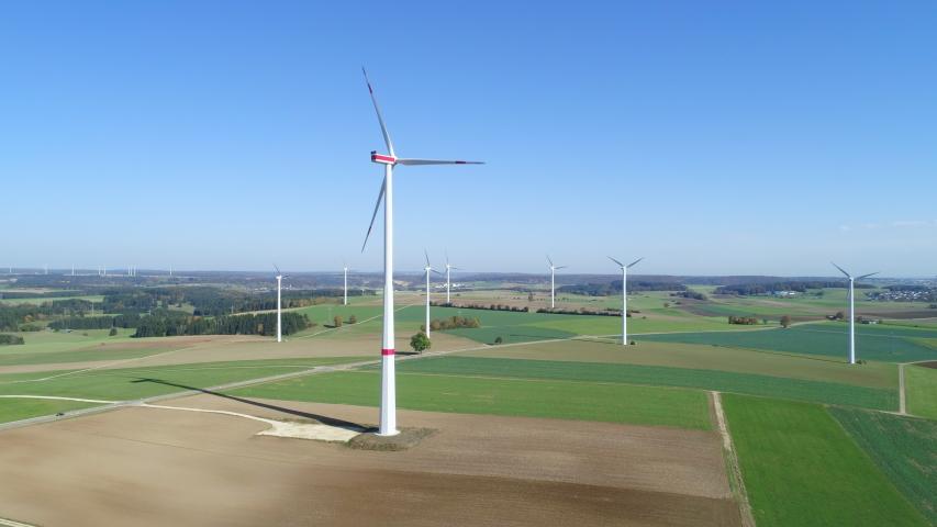 Aerial view of wind turbines, Swabian Alb, Germany | Shutterstock HD Video #1046743360