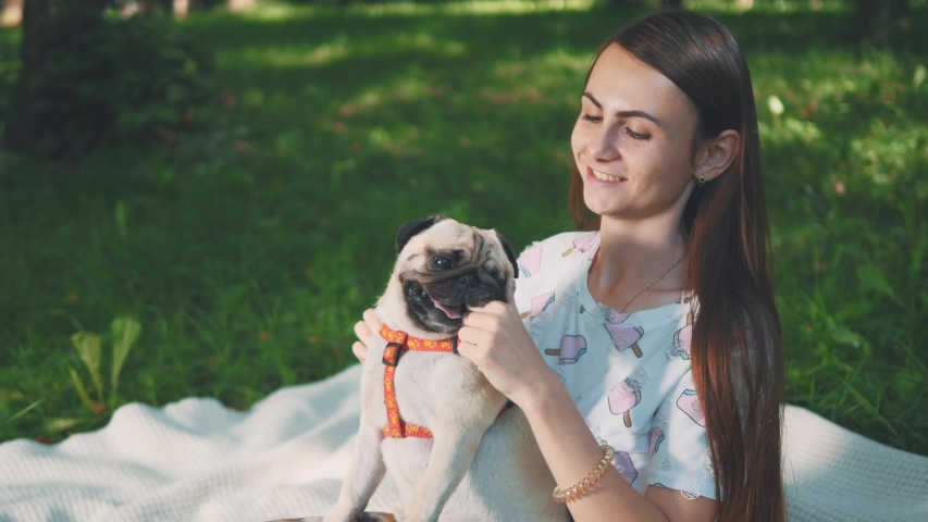 Smiling lady is taking free time with her dog. Woman relaxing in the nature with her little pug dog. Close up. Copy space. 4K. | Shutterstock HD Video #1046771110