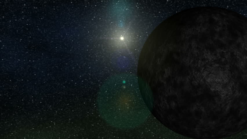 "Artistic conception of the tenth discovered planet in our solar system. Eris is larger than and orbits 3 times as far from the sun as Pluto. Eris is considered a ""plutoid"", or ""dwarf planet""."