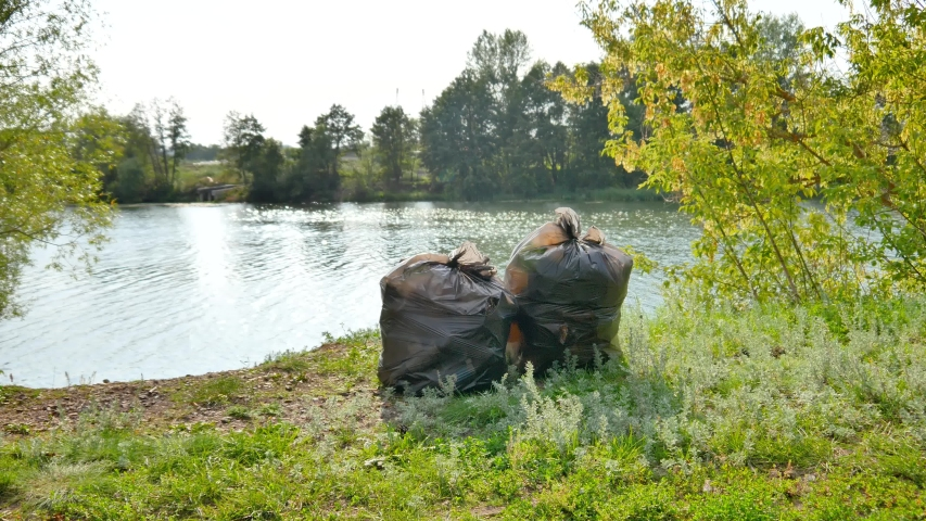 Garbage in bags in the nature | Shutterstock HD Video #1046928040