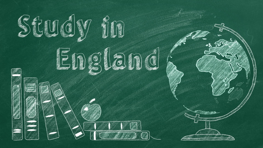 "Lettering ""Study in England"", rotating globe and school books are drawn with chalk on a blackboard. Study abroad concept. 