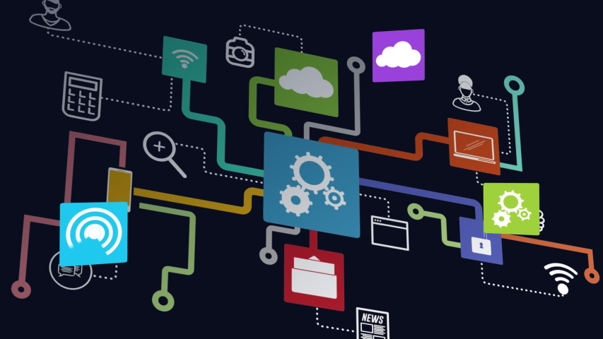 Animation of network of connections cloud computing with cogs, cloud, on line security, message, wifi icons on black background. Global network of connections and communication cloud computing concept | Shutterstock HD Video #1046976190
