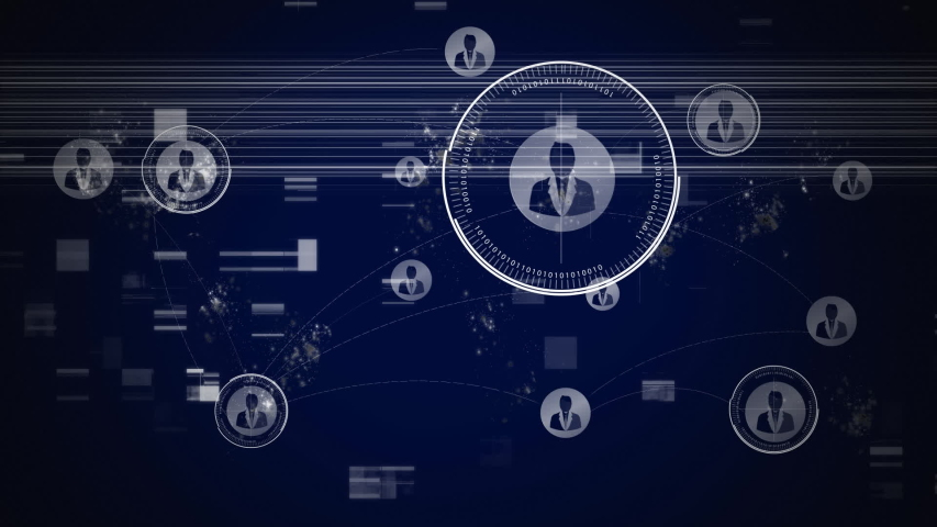 Animation of network of connections with people icons on flickering dark blue background. Global network of connections and communication concept digitally generated image. | Shutterstock HD Video #1046977720