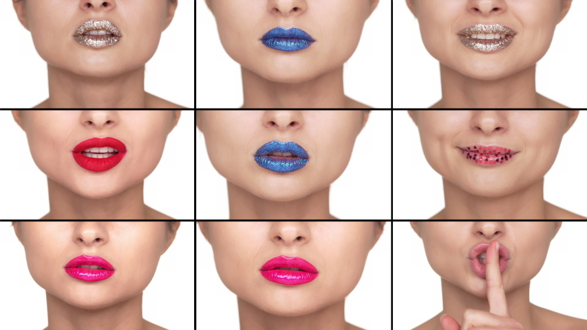 Makeup and fashion concept. Multiscreen collage of women lips with bright fashionable lipsticks on, girls smiling and pouting sensualy, apply glamour glitter. Hushing with forefinger pressed to mouth | Shutterstock HD Video #1047038770