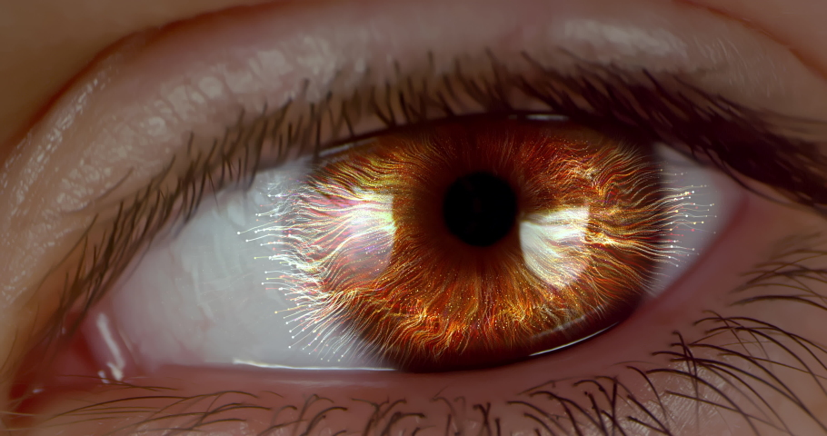 Female green-brown eye with CG rendered futuristic neurone cells. Extreme macro.   Shutterstock HD Video #1047111820