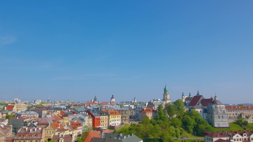 Summer panorama of city of Lublin in Poland, Europe - high quality stock footage   Shutterstock HD Video #1047154930