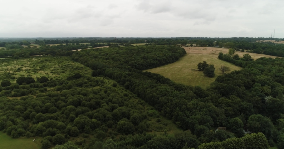 Large wooded areas in English countryside with openings for agricultural use | Shutterstock HD Video #1047216790