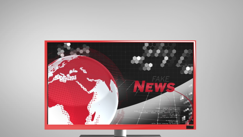 Animation of the news screen with the word News written in red, red and white digital globe rotating, information processing displayed on television set on grey background. Global technology media and | Shutterstock HD Video #1047240040