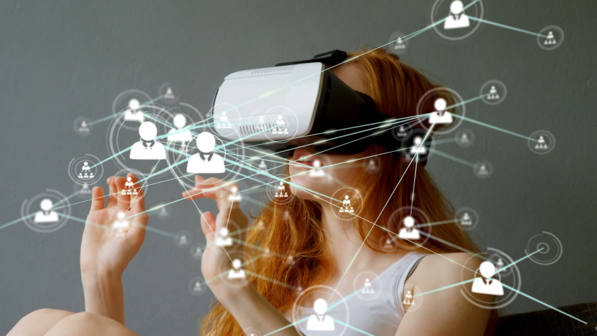 Animation of network of connections with people icons with Caucasian woman wearing a Virtual Reality headset in the background. Global networking virtual reality and connections concept digital | Shutterstock HD Video #1047241300