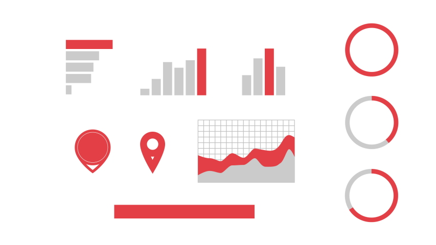Set of red infographics elements alfa-mask. Business design elements. Management   Shutterstock HD Video #1047969250