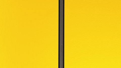 Opening zip fastener on yellow leather material. Ultra HD animation of unzipping the zipper with mask included.