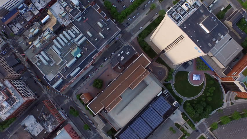 Detroit Aerial v47 Flying vertical shot looking down over downtown buildings. | Shutterstock HD Video #10488050
