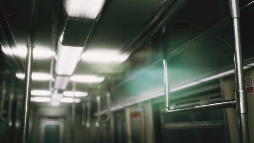 Subway car in USA empty because of the coronavirus covid-19 epidemic | Shutterstock HD Video #1049332540