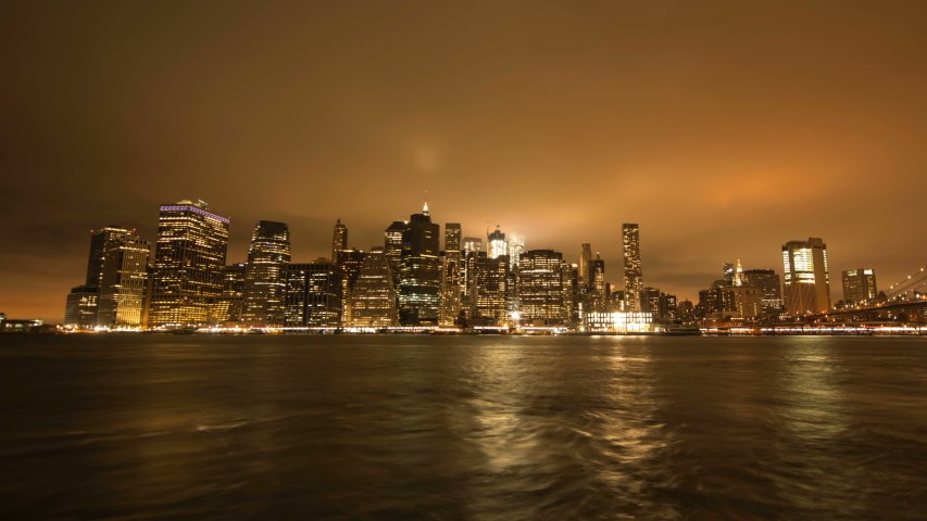 NY, USA – Moving timelapse/Hyperlapse of Manhattan skyline from Brooklyn at night | Shutterstock HD Video #1049336830