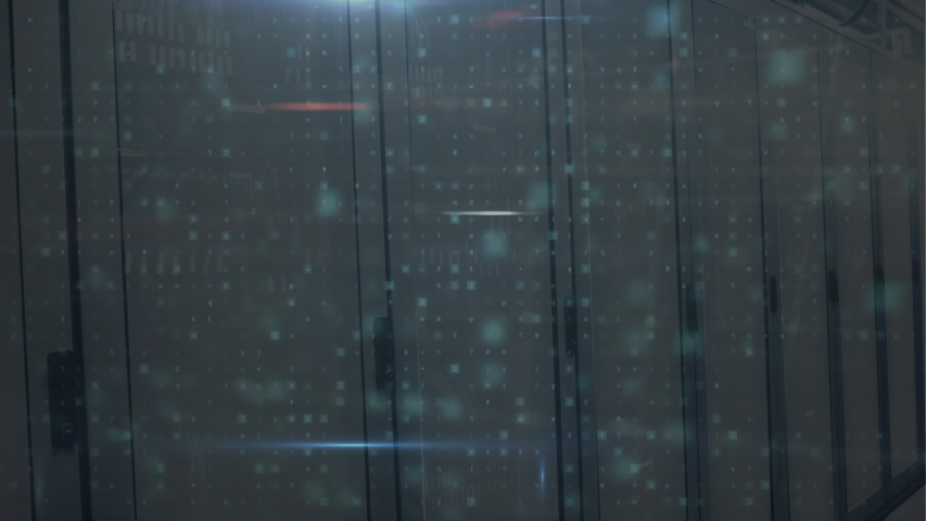 Animation of words Cyber Attack, Malware Detected, Scanning and Warning, data processing and digital information flowing through network of computer servers in a server room with light trails flashing | Shutterstock HD Video #1049358940