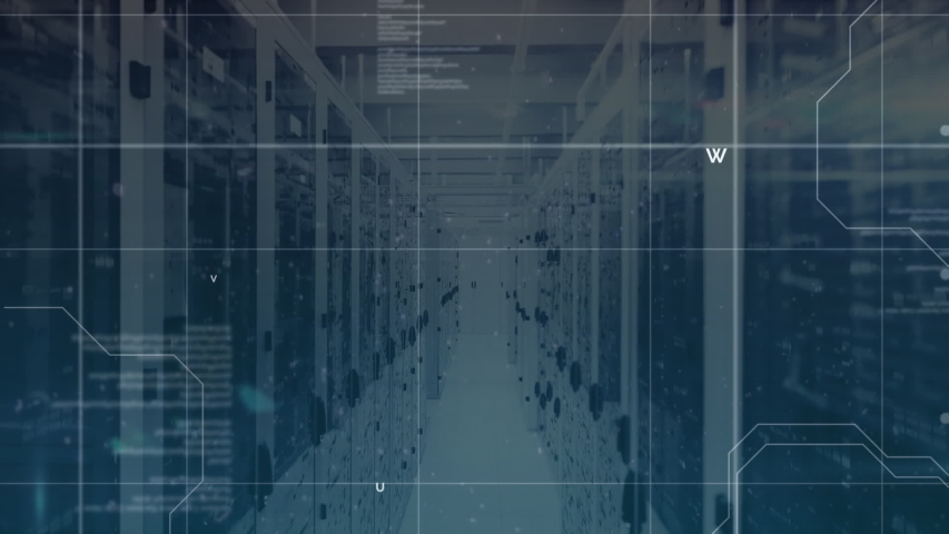 Animation of data processing and digital information flowing through network of computer servers in a server room with light trails flashing on surface. Global network of internet service provider | Shutterstock HD Video #1049361910