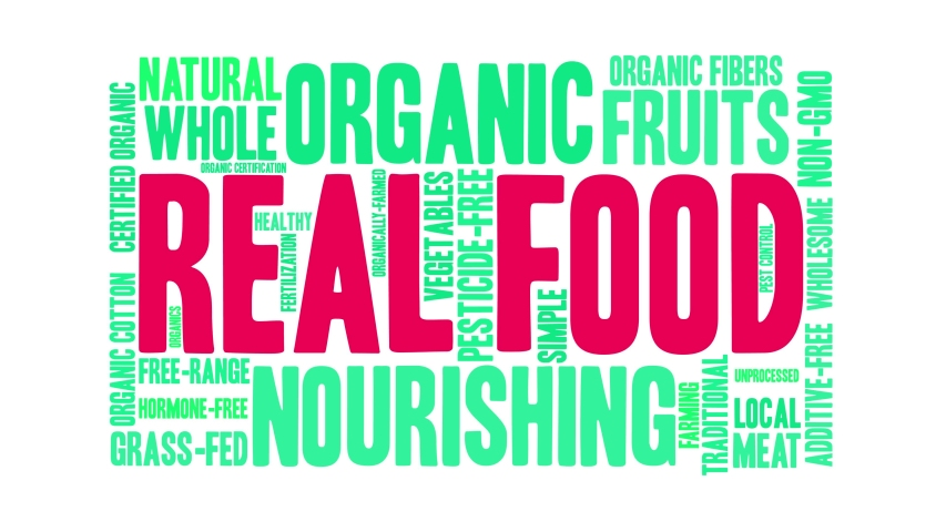 Real Food animated word cloud on a white background.   Shutterstock HD Video #1049406820
