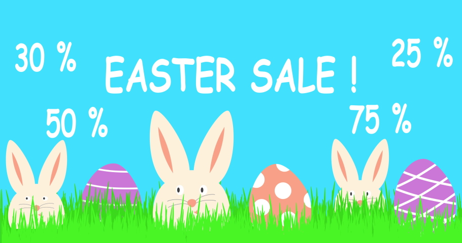 Easter sale text animation. 4k resolution. 50 , 75 or 30 percent discount. Easter sale banner with three funny white rabbits and colorful easter eggs.   Shutterstock HD Video #1049493430