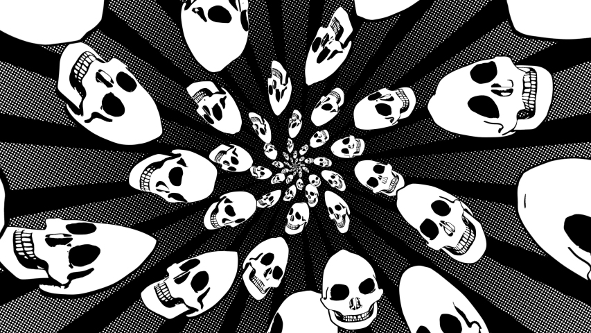 Seamless animation of swirl of psychedelic skulls printed drawn style cartoon. Hypnotic halloween background with marker stroke effect in black and white. | Shutterstock HD Video #1049505550