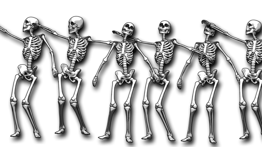 Seamless animation sexy dancing skeletons printed drawn style cartoon. Funny halloween background with marker stroke effect on an white backdrop. | Shutterstock HD Video #1049505580