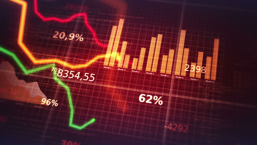 Decreasing charts. Financial figures and diagrams showing decreasing profits. Loopable. Blue-White.  2 colors. More options in my portfolio.   Shutterstock HD Video #10495871