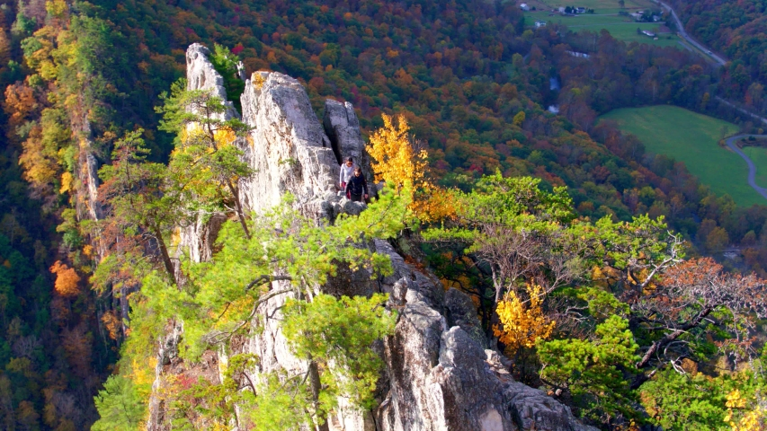 Hikers at Top of Seneca Rocks Peak, West Virginia, Aerial View | Shutterstock HD Video #1049616490