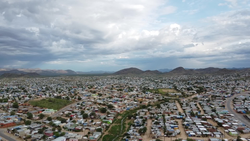 Panoramic view on the city of Windhoek and the mountains on the horizon | Shutterstock HD Video #1049648590