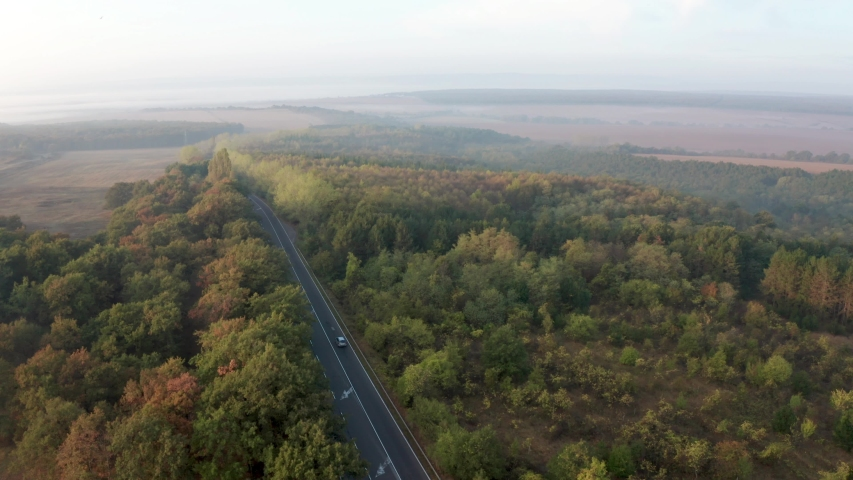 Drone flight over colorful autumn forest with road and cars in nice morning light | Shutterstock HD Video #1049654560