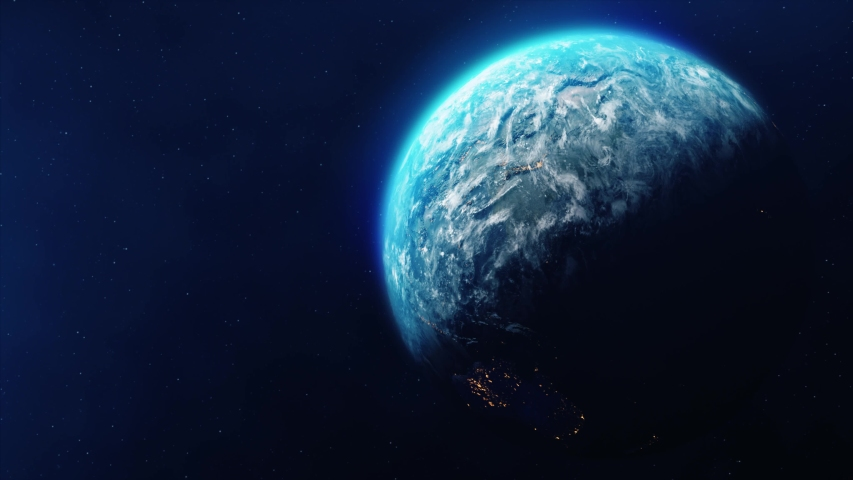 Realistic Motion Graphics of Planet Earth Rotating in the Night Starfield Intros, Endings, Logo Presentation, Background | Shutterstock HD Video #1049685100