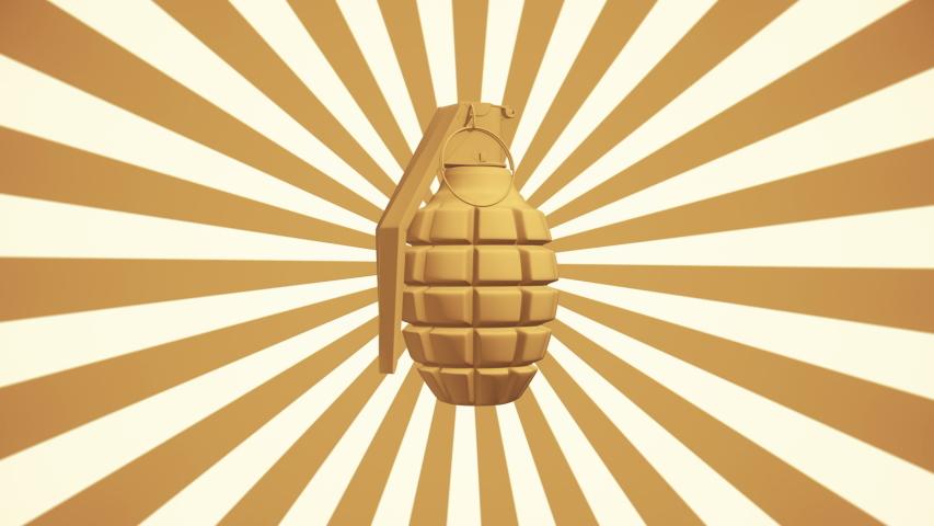 Concept of rotating grenade on sunburst background | Shutterstock HD Video #1049879470