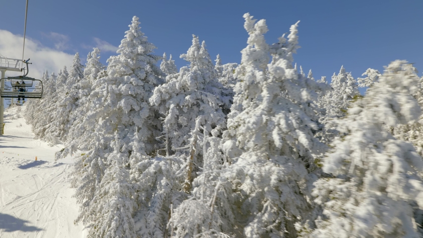 View from chair lift on ski slope with trees covered with snow | Shutterstock HD Video #1049909020
