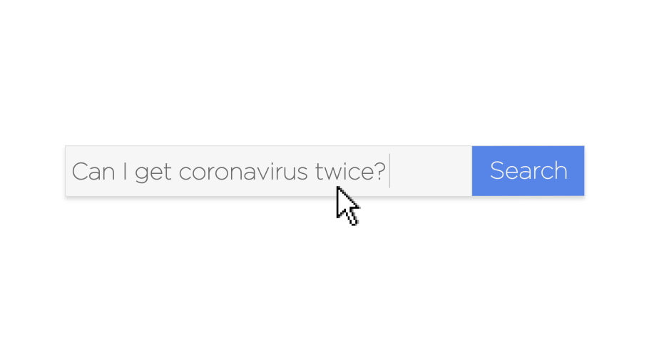 "A graphical web search box asking the question, ""Can I get coronavirus twice?"" With optional luma matte.  	 