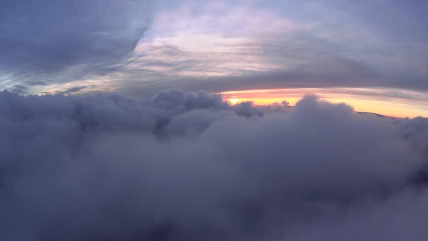 Cloud Sunset at 8000 feet. Cloud Sunset, 4k natural flight.