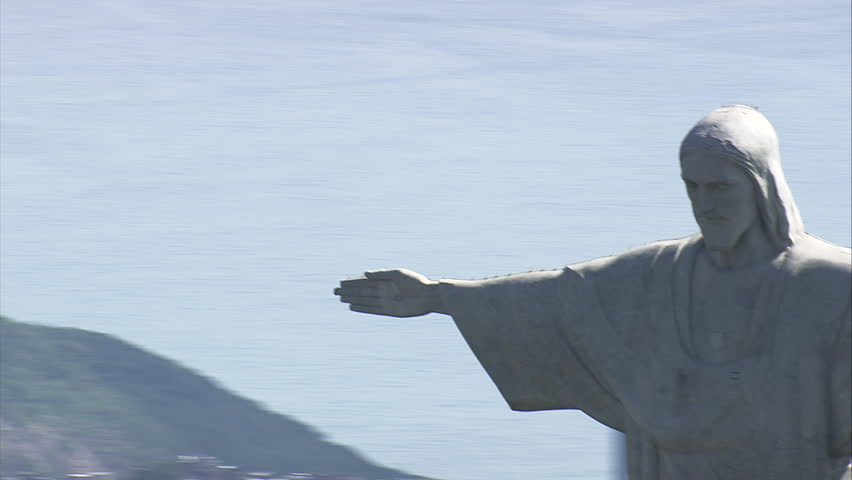 AERIAL Brazil-Passing Behind Cristo Redentor - Christ The Redeemer 2014