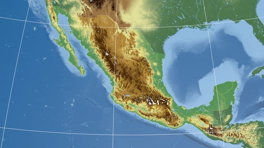 Quintana Roo state extruded on the physical map of Mexico. Rivers and lakes shapes added. Colored elevation data used. Elements of this image furnished by NASA.