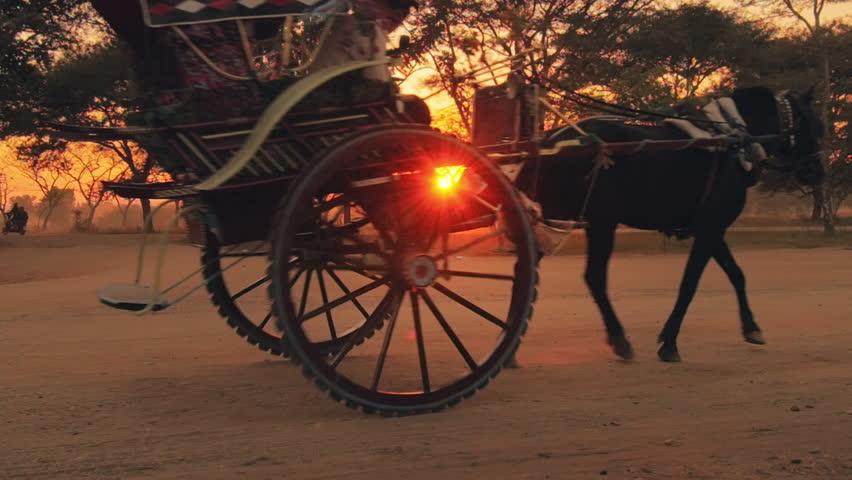 Traditional wooden horse cart in Bagan Myanmar (Burma). Popular tourist travel destination