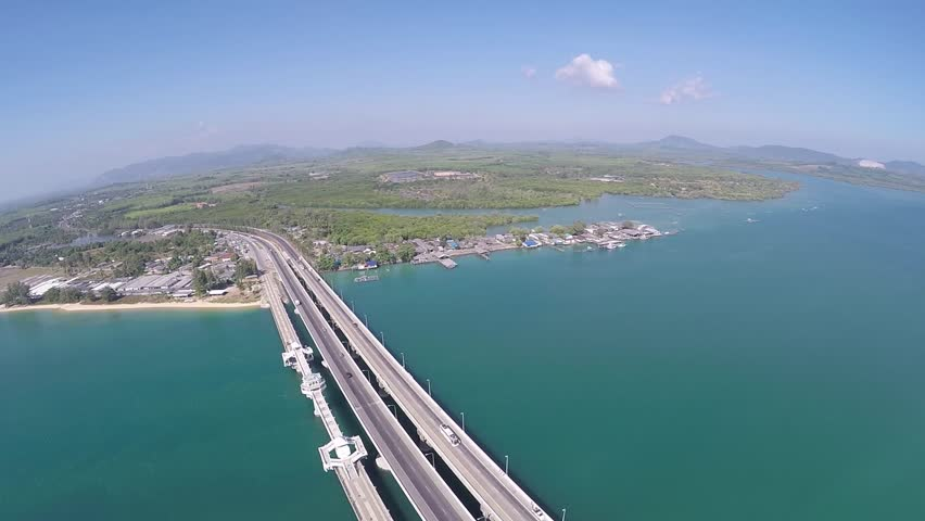 Aerial video the Sarasin Bridge view point connect Phang-Nga province to Phuket Island, Thailand | Shutterstock HD Video #10544930