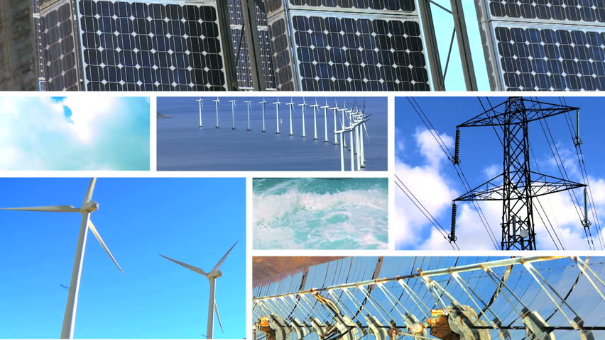 Montage collection of wind turbines & solar panels producing clean sustainable energy