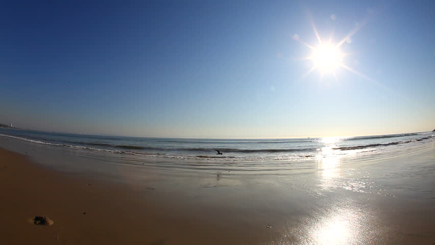 The beach and waves on a bright sunny day, shot with a fish eye lens.