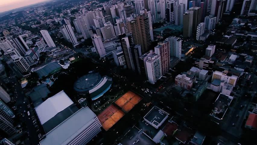 Curitiba, PR - Brazil - Aerial evening sunset at the city.