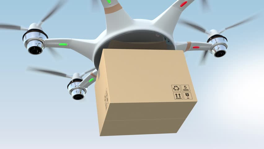 Drone delivery cardboard package to the order's home