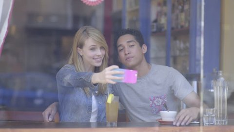 Cute Couple Enjoy A Lunch Date, Young Woman Wants To Capture The Moment, Takes Photos (4K)