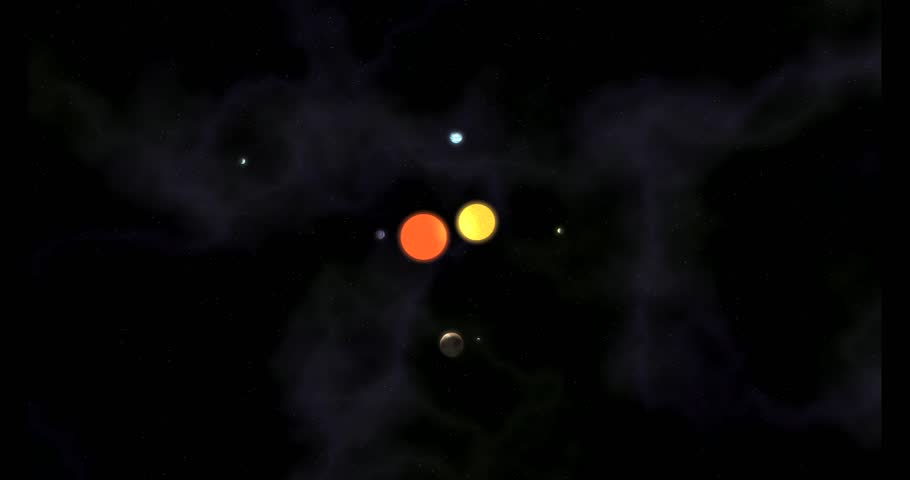 Solar system with a binary star and five planets