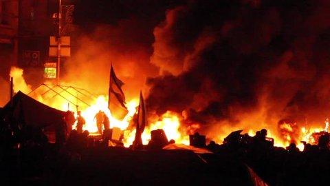 KIEV, UKRAINE December 30, 2014: Protesters set fire to barricades in Kiev. The revolution in Ukraine 05