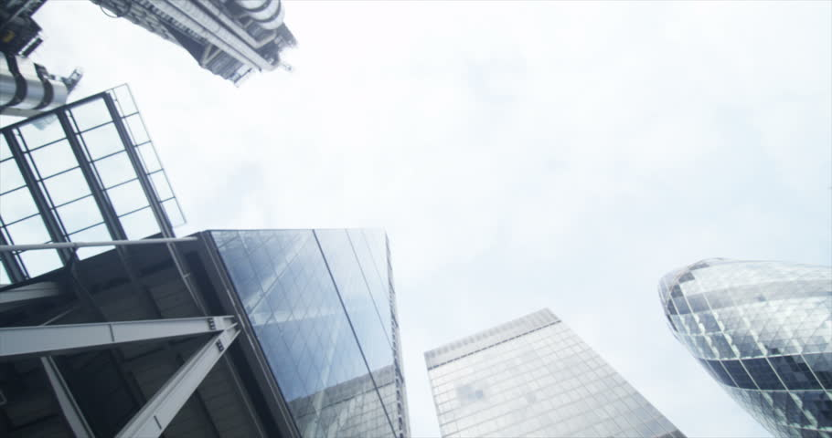 4K Low angle view looking up, 2 businessmen meet and shake hands in the city | Shutterstock HD Video #10623260