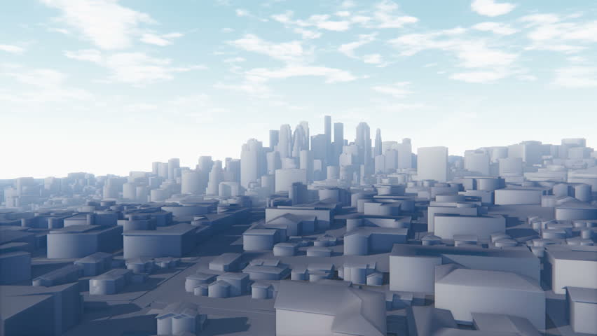 Flight through abstract white 3D scale model of modern city, from the suburbs to the top of skyscrapers. Decorative 3D animation.