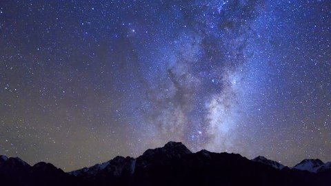 Night time lapse of milky way and startrails over Hooker Valley, Aoraki Mount Cook National Park, Southern Alps, South Island, New Zealand